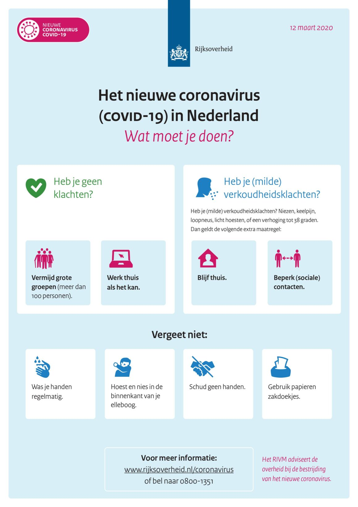 Update maatregelen Covid-19 virus maart 2021